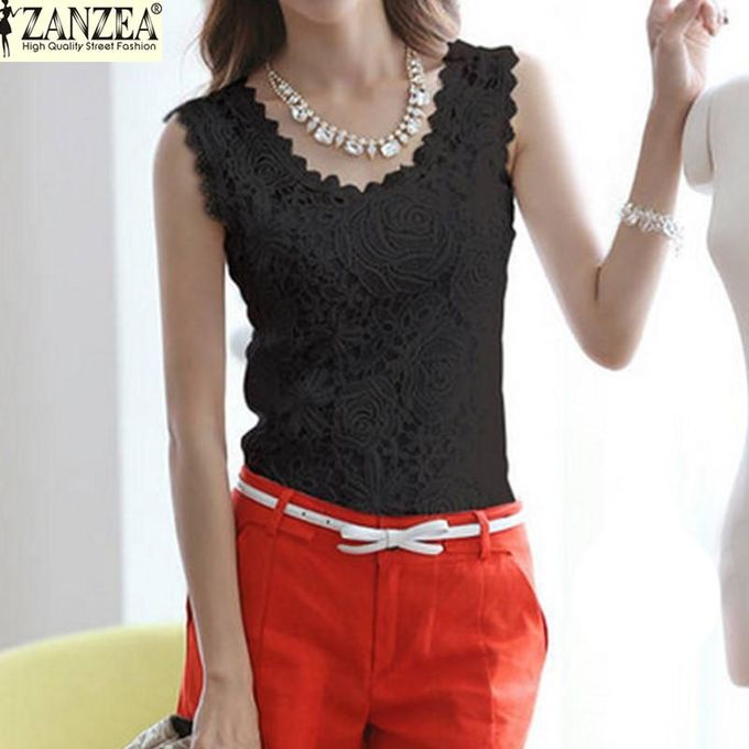 1890e4064a1 ZANZEA Plus Size S-4XL Womens Lace Tank Top Sleeveless T-shirt Vest Blouse  Tee Tops(Black)