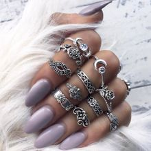 afc3068b22 Quanxinhshang 11pcs/Set Women Bohemian Vintage Silver Stack Rings Above  Knuckle Blue Rings Set