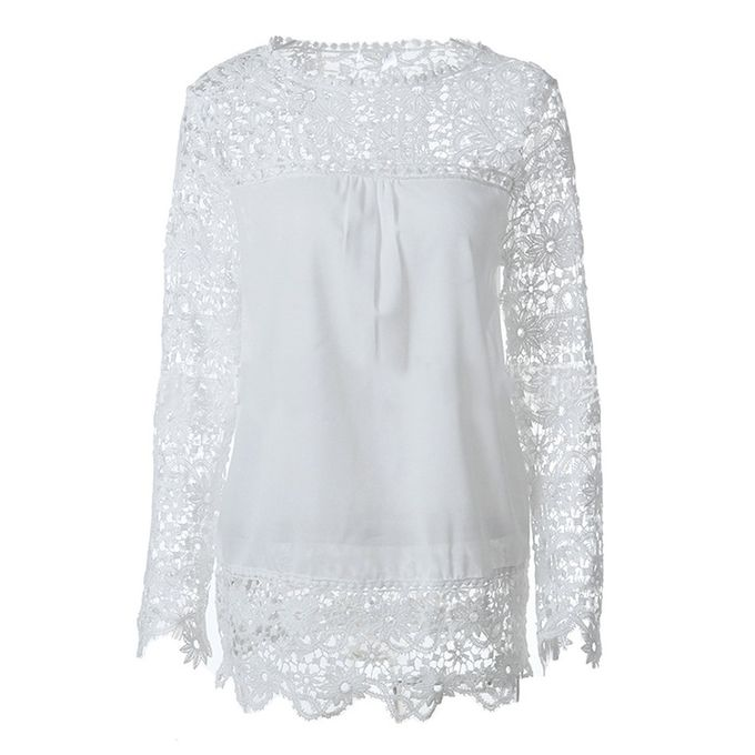 397940fd0f777a Autumn Ladies Hollow Flower Chiffon Lace Blouse Long Sleeve Tops Women  Shirts