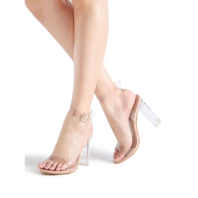 5b75697c7baf Sale on Ankle Strap Chunky Heeled Clear Sandals