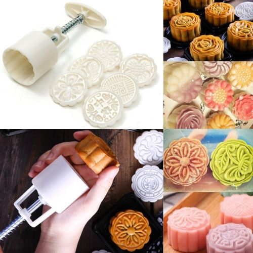 a88e47cc6 Universal 6 Style Stamps 50g Round Flower Moon Cake Mold Mould White Set  Mooncake Decor