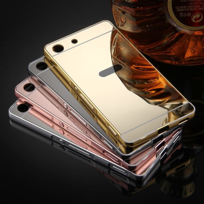 For Sony Xperia M5 Mirror Push Pull Back Shell Cover Electroplating Bumper Frame .