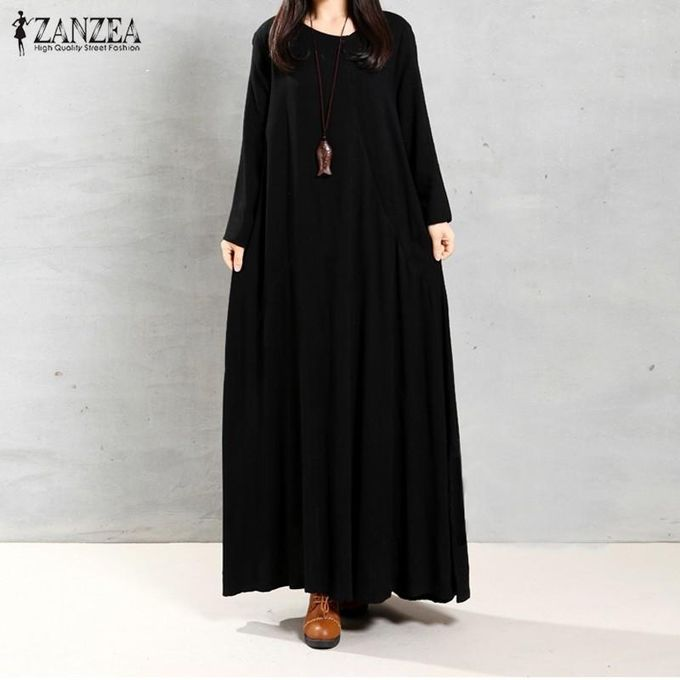 dc5b20a5353 ZANZEA Women Autumn Retro Dress O-Neck Long Sleeve Pockets Buttons  Decoration Solid Cotton Maxi