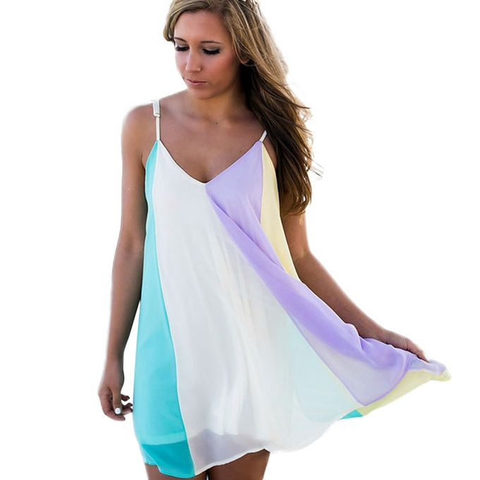742d6391122bc Tectores Fashion Trend Women Beachwear Swimwear Bikini Cover Up Ladies Rainbow  Colorful Summer Dresses