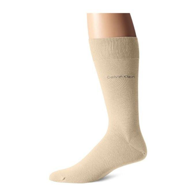 Calvin Klein Mens Giza Cotton Flat Knit Crew Sock [Salt N Pepper, Sock Size:10-13/Shoe Size: 6-12 (7-12)]