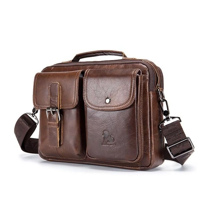 e15c7b54329c Mens Leather Messenger Bag Retro Laptop Bag Business Briefcase Shoulder Bag