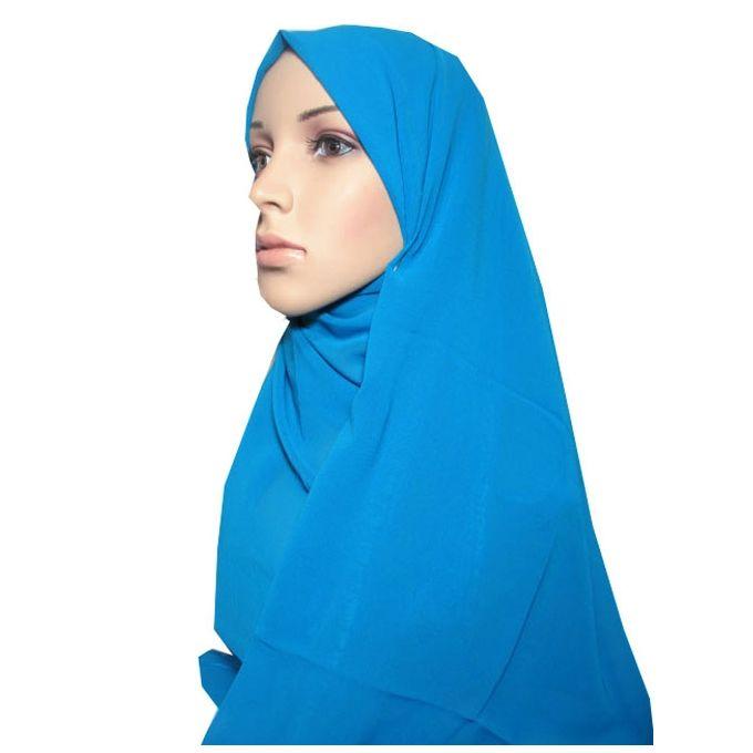 حجاب من الشيفون - 70 × 175 سم - تركواز