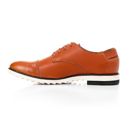 Solid Leather Men Classic Shoes - Camel