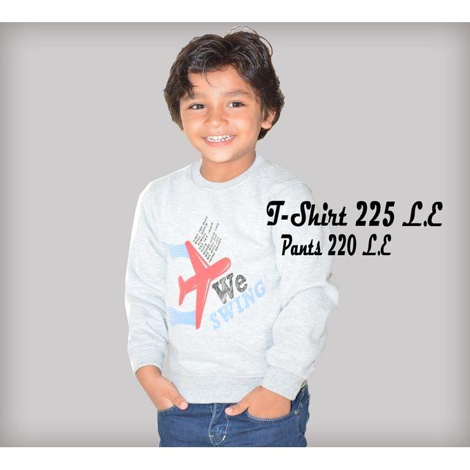 5752d409b2d1b Boy s Printed Long Sleeves T-Shirt   Pants - Grey   Blue - Jumia مصر