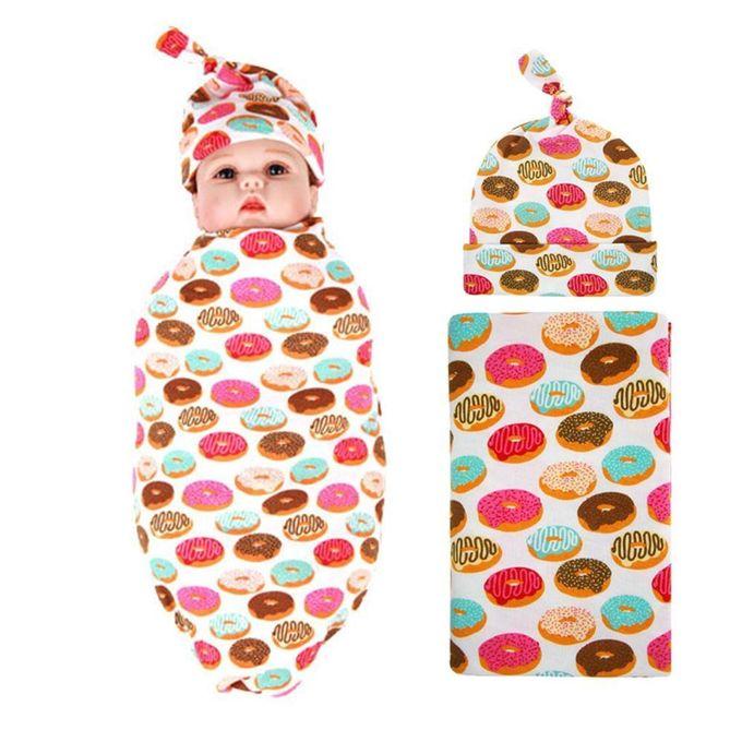Donut Design Newborn Baby Swaddle Blanket With Warm Beanie Hat Set –  مصر