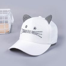 418462ea Women Ladies Hat Korean Fashion Spring And Summer Lady Cat Diamond Baseball  Cap Outdoor Net Hat
