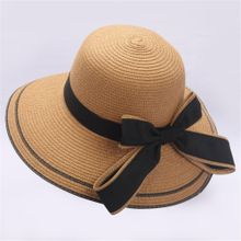 ba17079dfe1 Whiskyky Store Floppy Foldable Ladies Women Bow Straw Beach Sun Summer Hat  Wide Brim-Khaki