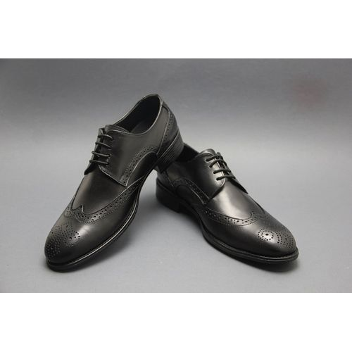 Natural Leather Brogue Shoes - Black