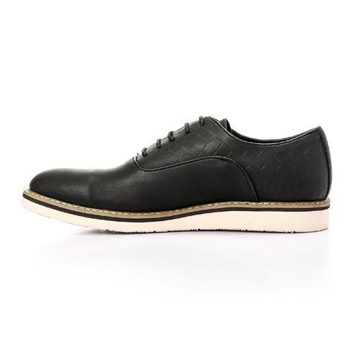 Textured Classic Leather Shoes - Black