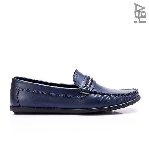 حذاء جلد سهل الارتداء - كحلي