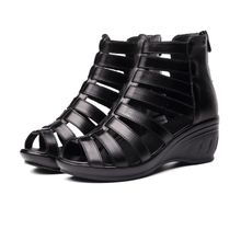 ed57409ccb7a9 Fashion Women  039 s Leather Sandals Platform Wedge Heel Shoes- Black