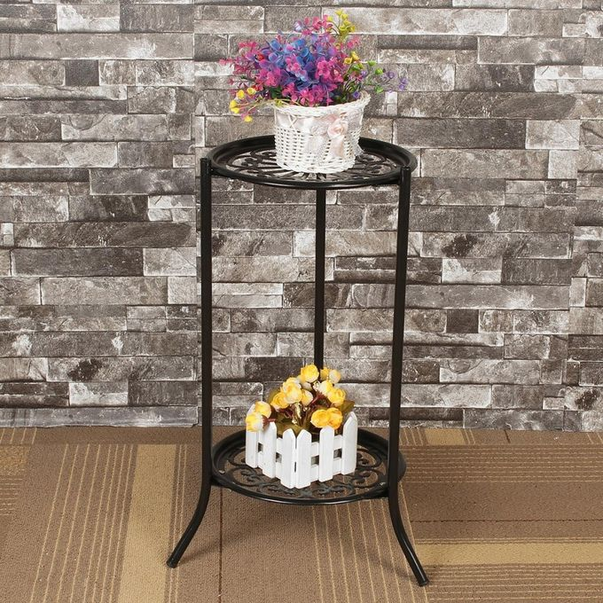 Two-layer Elegant Metal Plant Stand Shelf Flower Pot Rack Holder Black –  مصر