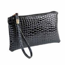 b6260cf19a0a4 Herkiller Bag Women Crocodile Leather Clutch Handbag Bag Coin Purse BK-Black