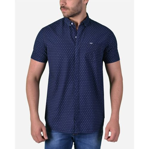 Casual Dotted Short Sleeves Shirt - Black