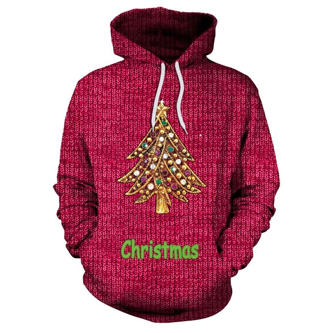 68ba627b1 Long-sleeved Hooded Pullover Sweaters With Christmas Tree Print For Women