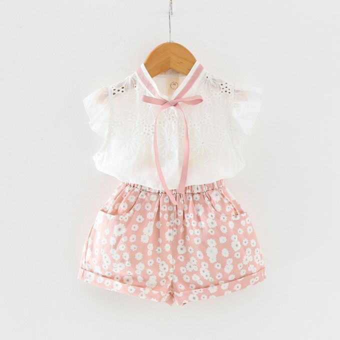 a851c2f623d0e Tectores Toddler Kids Baby Girl Outfits Clothes T-shirt Tops+Flower Shorts  Pants 2PCS