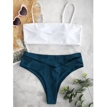 1ea64707b4 ZAFUL Cami Color Block Criss Cross Bikini Set GREENISH BLUE ORANGE VIOLET  RED