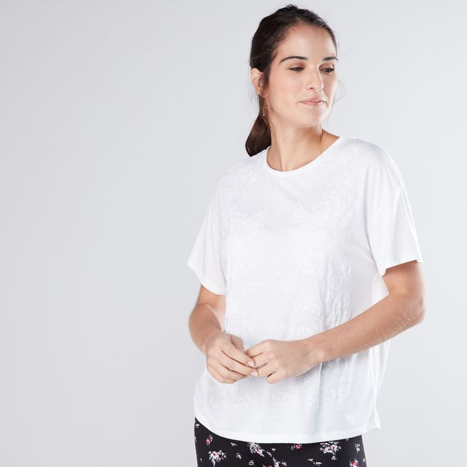 0ac5c0e6cf3 Ladies Embossed Round Neck Top With Drop Shoulder Sleeves - LIGHT WHITE