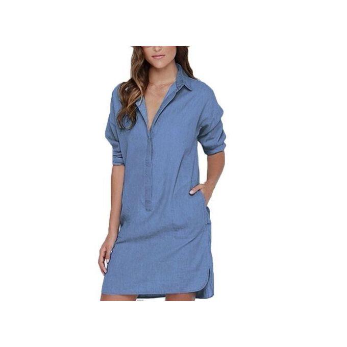 5559b0e01158 Auxo Plus Szie Women Vintage Jeans Mini Short Denim Dresses Button Denim  Shirt Dress Sky Blue