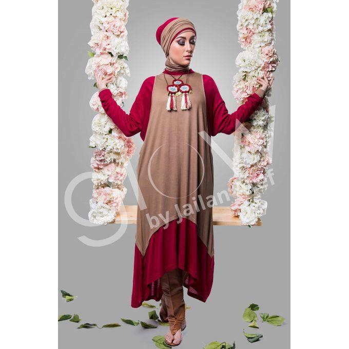 Long Sleeves Hijab Tunic Top - Red & Tan