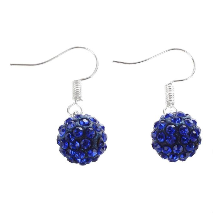 Shamballa Style Crystal Earrings - Navy Blue