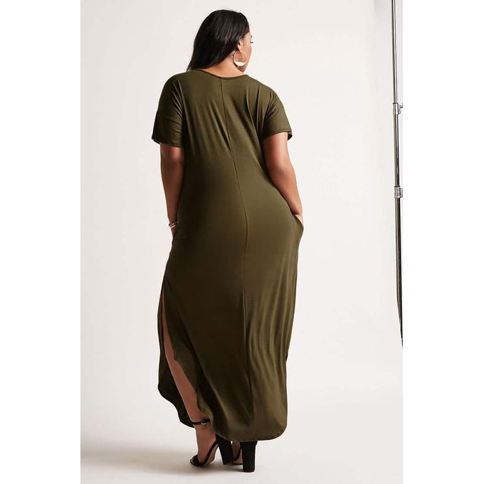 Plus Size Mesh-Trim Camo T-Shirt Dress