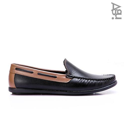 حذاء جلد سهل الارتداء - اسود وكافيه