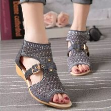 0f75e3b5c20 Large Size Women  039 s Shoes Summer Slope With Rhinestones Hollow Sandals  Women Gold