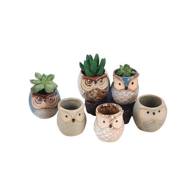 6pcs Ceramic Owl Plant Pot Flowing Glaze Base Creative Flower Container As Decorations Specification:6pcs Size:25.5 * 18 * 9cm –  مصر