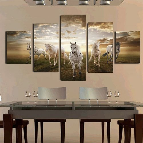 5 Panel NO Frame Art Pictures Running Horse Large HD Modern Home Wall Decor Abstract Canvas