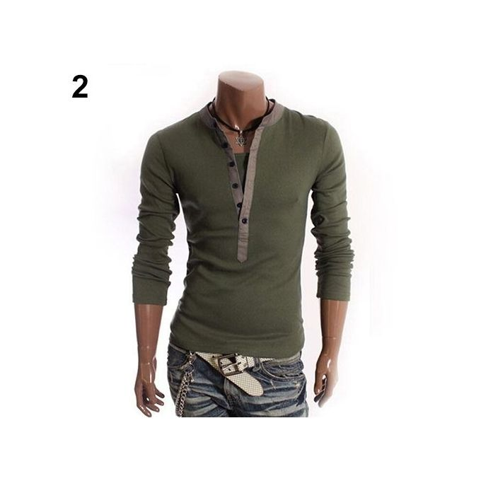 EG/_ Men V-neck Button Front Long Sleeve Solid Casual Slim Fit T-Shirt Tops Tee S