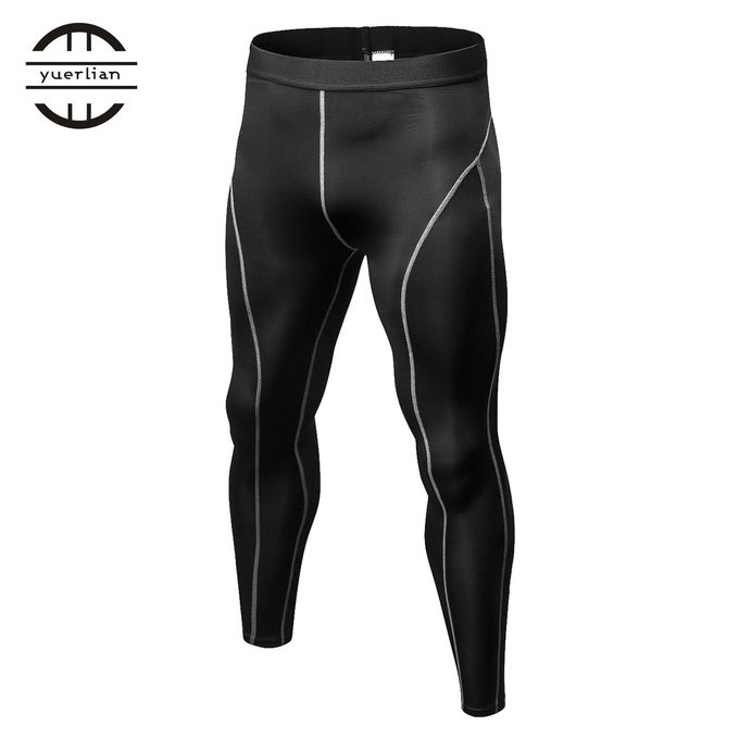 504a488e36 Men Compression Pants Tights Solid Color Quick Drying Running Skinny  Leggings Black