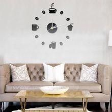 defe800ed 3 أكواب القهوة الفاصولياd Diy الأكريليك ملصقات كوارتز مطبخ ساعة الحائط