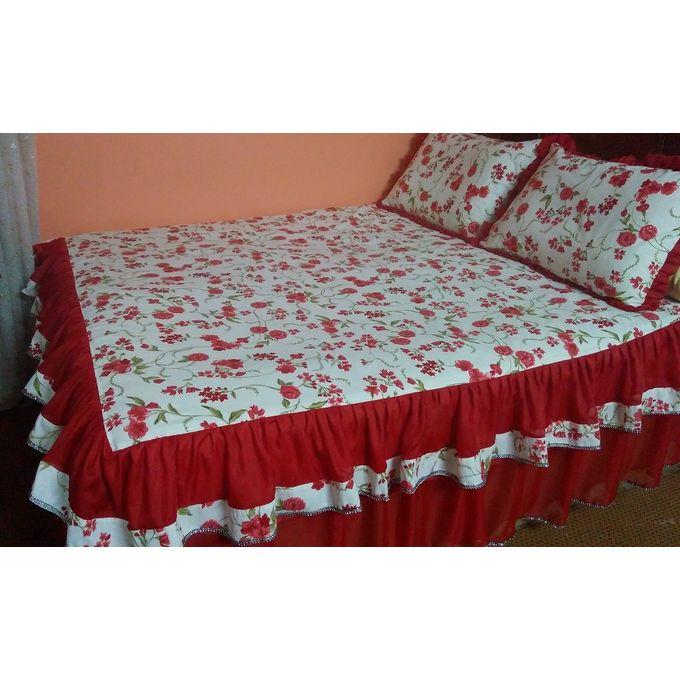 ملاية سرير 5 قطع احمر بكورنيش من ثلاثة جهات –  مصر