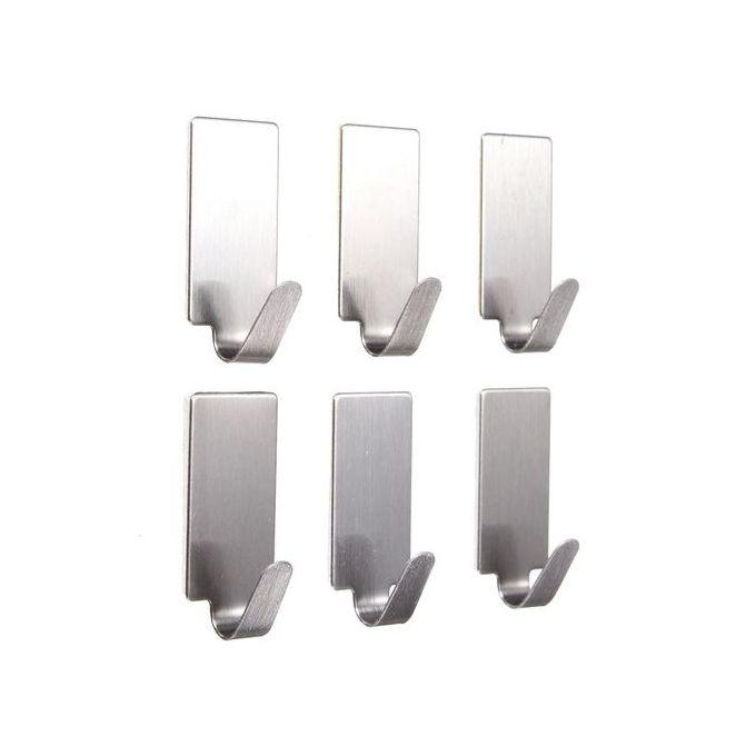 6x Stainless Steel Self Adhesive Hook Hanger Stick Holder Home Wall Door Kitchen Hooks & Hangers