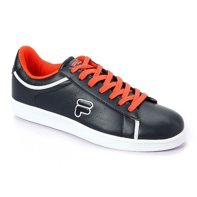 420977da8310 Sale on Comfy Shinny Leather Men s Sneakers - Navy Blue   Orange ...