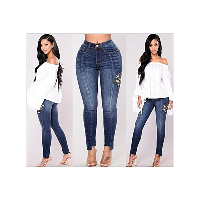 baa0e97835 Plus Size Female Pencil Jean High Waist Skinny Denim Pants Women Trousers-dark  Blue