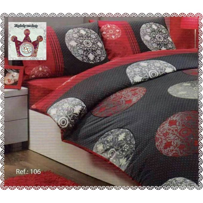 Floral Printed Bed Sheet Set – 4 Pcs – Gray / Red –  مصر