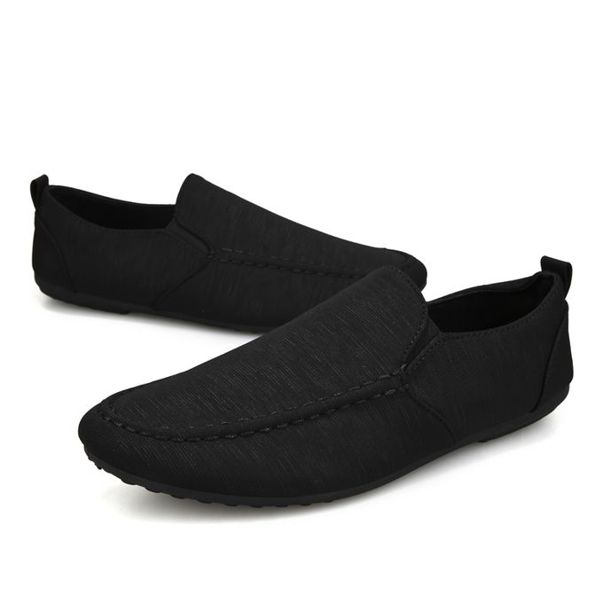 efd05b74a Men Slip-On Loafers Moccasin Dull Polish Canvas Shoes Black - Jumia مصر