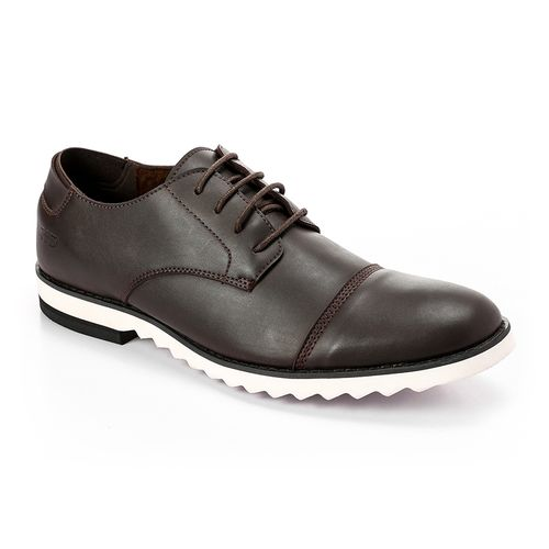 Solid Leather Men Classic Shoes - Brown