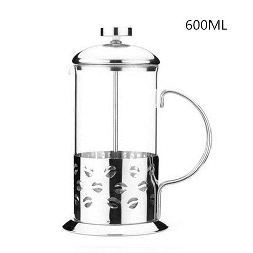 French Cafetiere Stainless Steel Insulated Coffee Tea Maker with Filter Double Wall French Press Silver#600ML