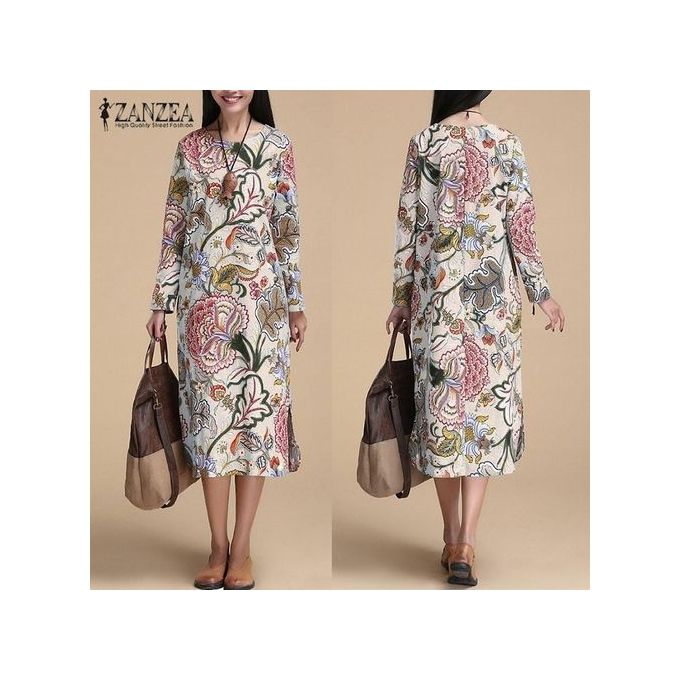 eaaa732e9a8 ZANZEA Vintage Women Pullover Loose Dress Casual Long Sleeve O Neck Dresses  Robe Plus Size Cotton