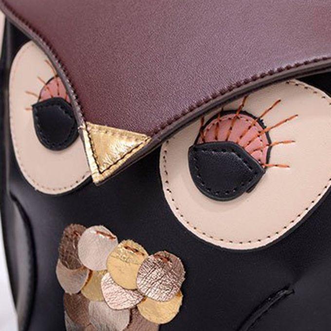 ... Women Lady Splicing Color Cross Body Bag Owl Pattern Holder Cover Bag Hand Bag