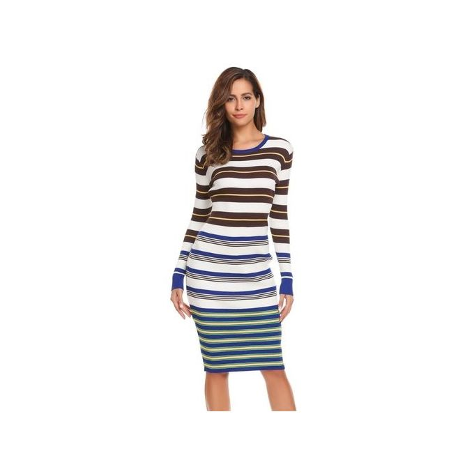 70af10c62f2 Sale on Women Casual Long Sleeve Striped O Neck Knit Sweater Dress ...