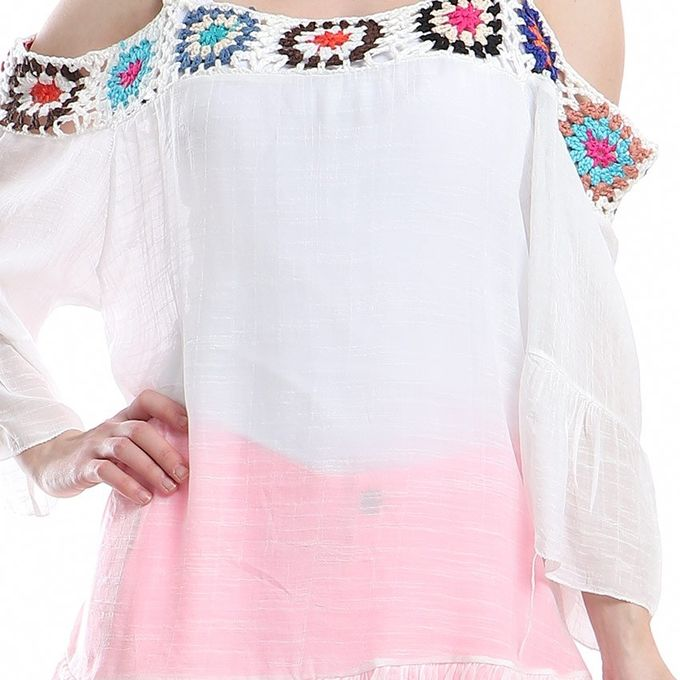 Sale On Ladies Off Shoulder Blouse With Lace White Flower Color